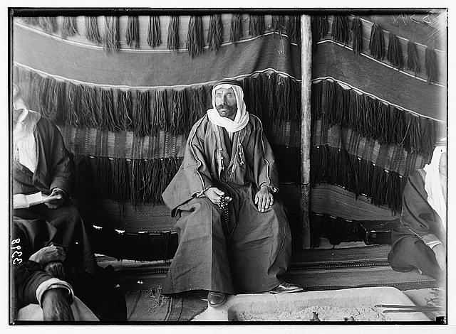 El-Azrak & Wadi Sirhan in the Arabian desert. Druse [i.e., Druze] political refugees from Jebel Druse (The Hauran). Sheikh Sultan el-Atrash, leader of Druse revolt in October, 1925