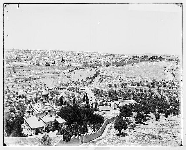 Jerusalem (El-Kouds). Panorama of Jerusalem from Olivet, in two sections