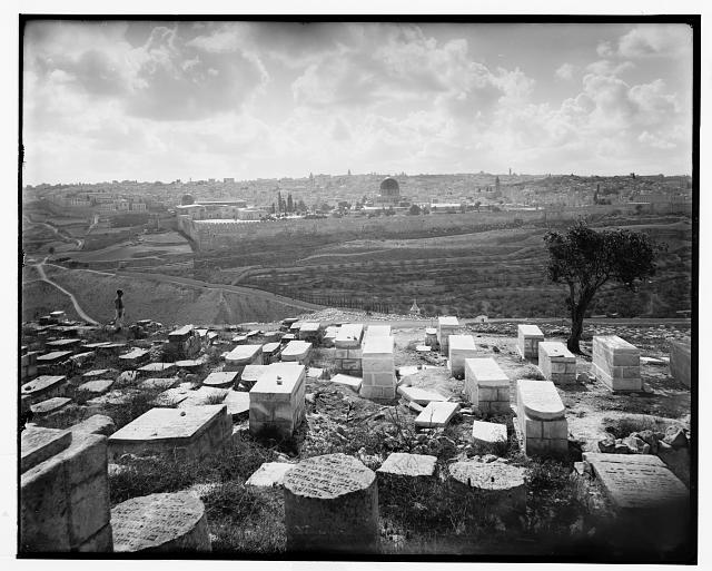Jewish tombs on Kedron [i.e. Kidron] slope overlooking Jerus. [i.e., Jerusalem]