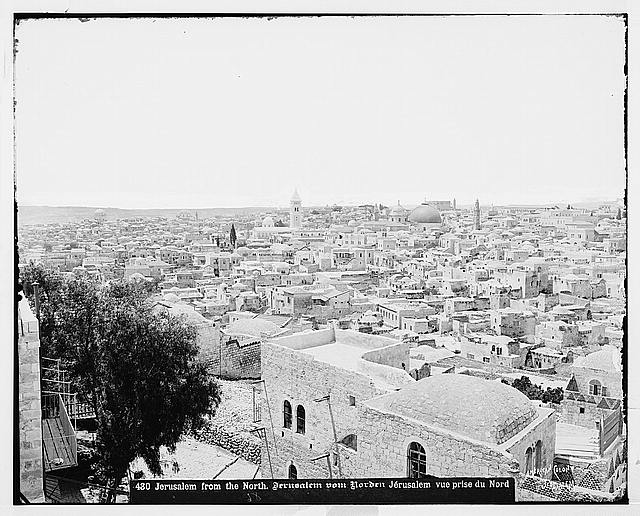 Jerusalem (El-Kouds). Jerusalem from the north, showing flat-roofed houses