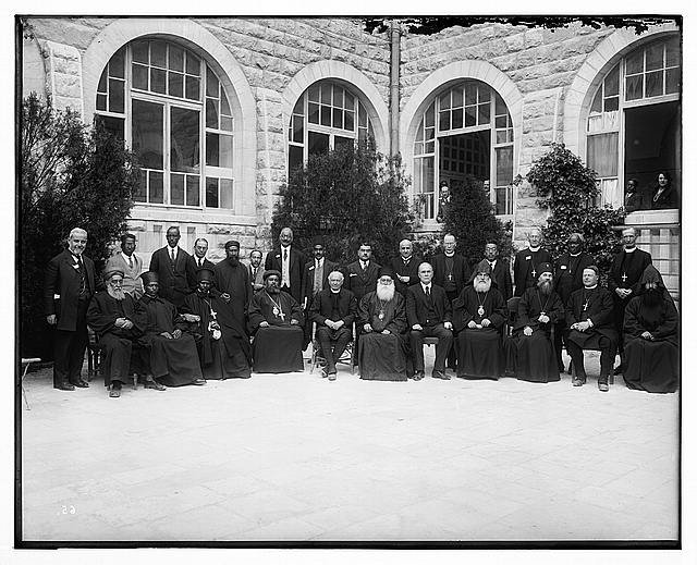 [Clergy in courtyard of Government House on Olivet, Jerusalem]