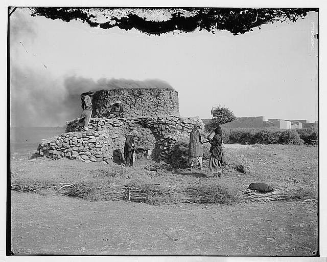 Fueling limestone kiln with brush bundle