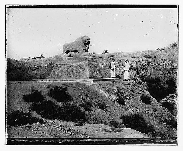 Iraq. Babylon, basalt lion with figures