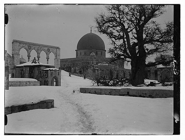 Snow in Jerusalem, 1921. Snow and the mosque