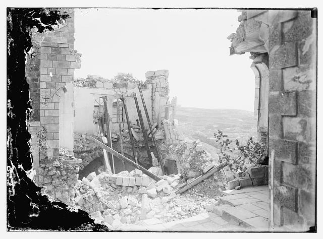 Bombed section of British Opthalmic Hospital, Jerusalem, 1918