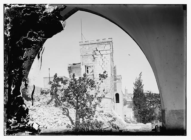 Bombed ruins, British opthalmic [i.e., ophthalmic] hospital, Jerusalem, 1918