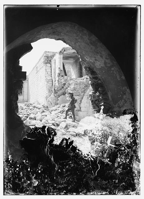 Bombed runis of British opthalmic hospital, Jerusalem, 1918