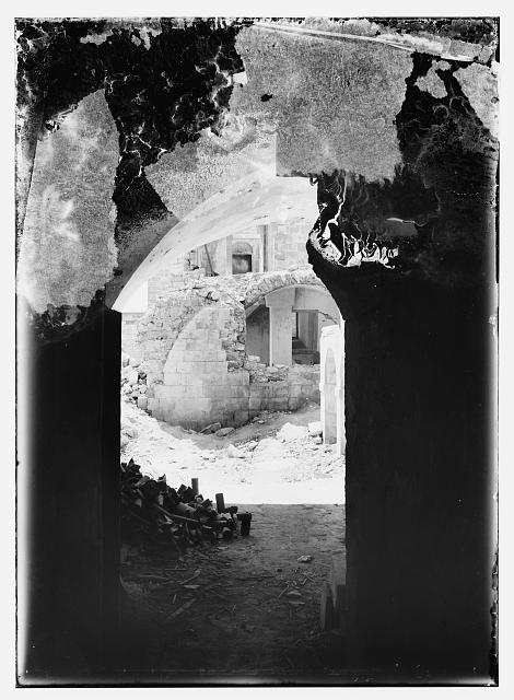 Bombed ruins of British opthalmic [i.e., ophthalmic] hospital, Jerusalem, 1918