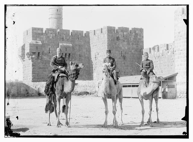 3 Turk. [i.e., Turkish] officers on camels before Tower of David