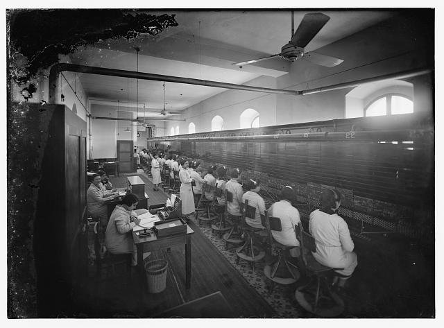 Telephone co.-central switchboard