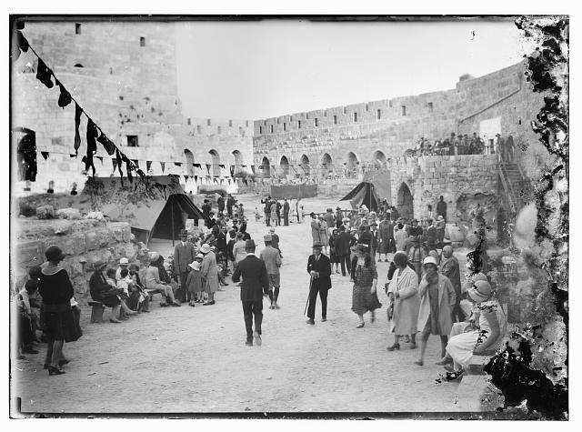 Bazaar for Y.M.C.A. in courtyard of Tower of David