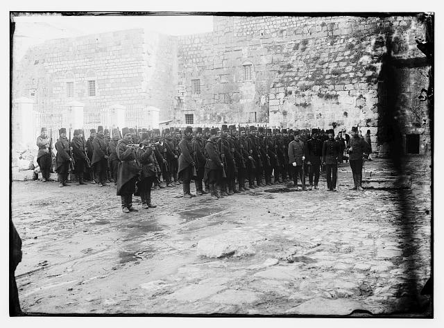 Turk. Mili drill beside Ch. of Nat. [i.e., Turkish military drill beside the Church of the Nativity]