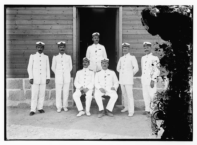 [Turkish Ottoman naval officers at a Dead Sea base]