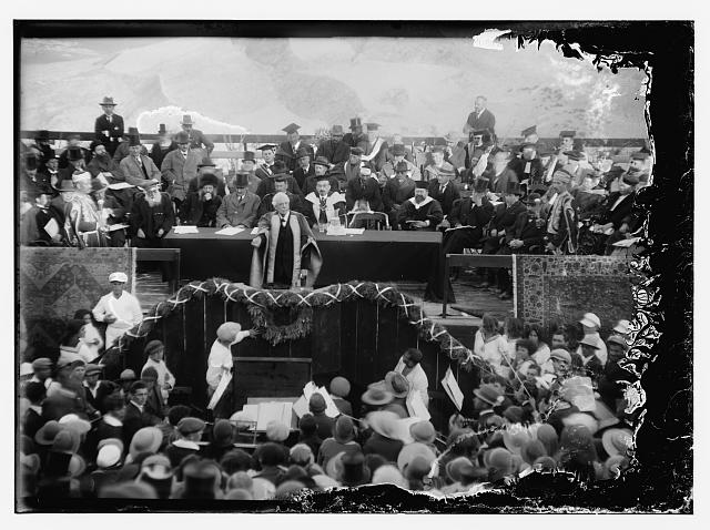 [Hebrew University and Lord Balfour's visit. Lord Balfour declaring university open]