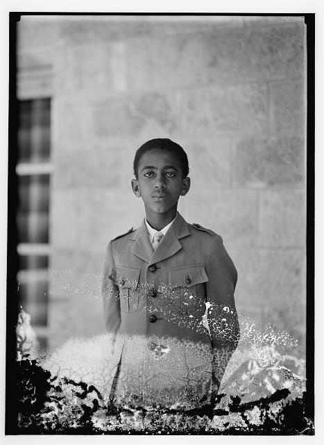 Son of H.S. [i.e., Haile Selassie] in mili. [i.e., military] uniform