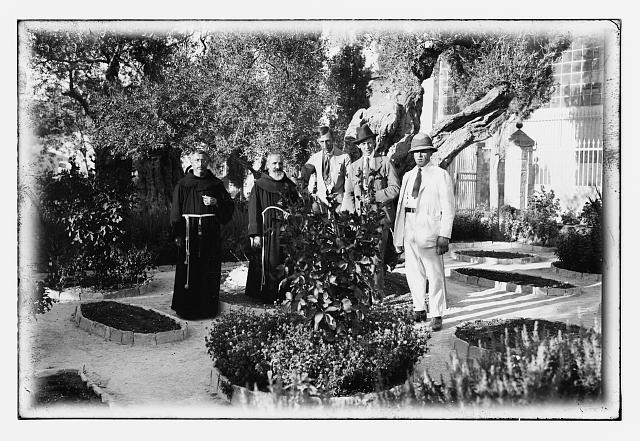 [Prince William of Sweden? with monks in Garden of Gethsemane, Jerusalem]