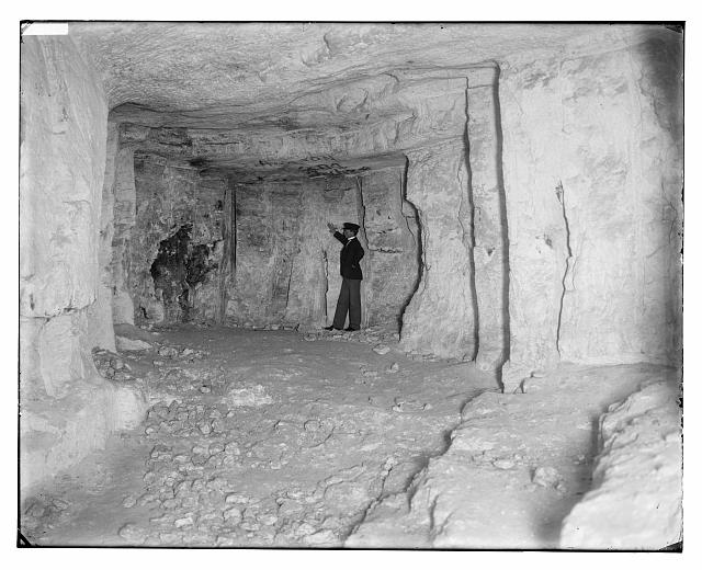 Man inside Solomon's Quarries