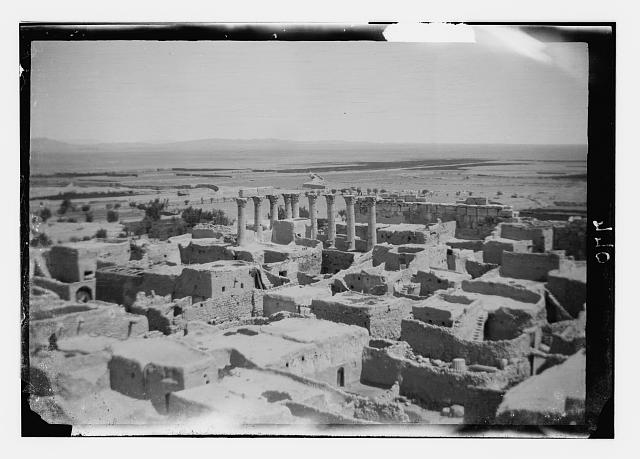 Palmyra (Tadmor). Native village among ruins of Temple of the Sun