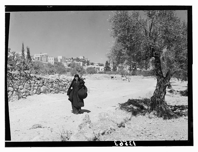 """Ruth"" story. ""Ruth"" story. ""Ruth"" carrying off wheat measured by ""Boaz"" (Sirvart), Bethlehem in background"
