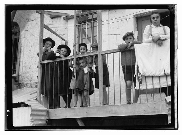 [Jewish children on balcony, during Sabbath]