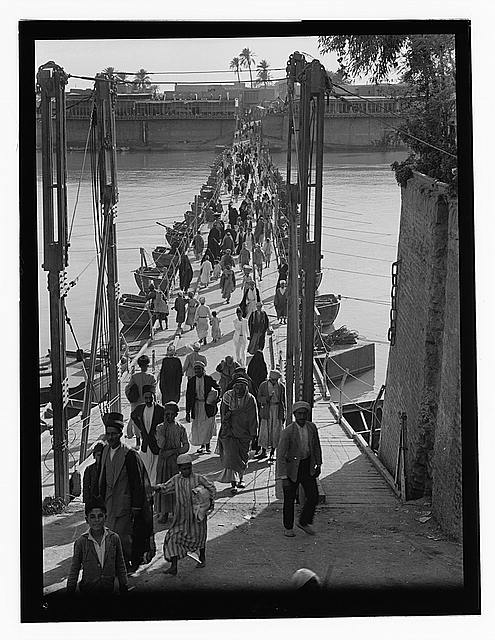 [Iraq. (Mesopotamia). Baghdad. Views, street scenes, and types. Baghdad. The Katah Bridge. Over the Tigris River]