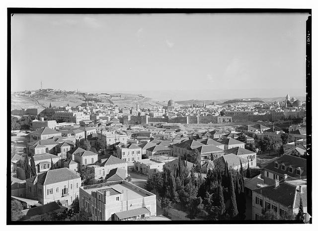 Jerusalem & Olivet from tower of Italian Hospital showing nort[h] city wall & Damascus Gate