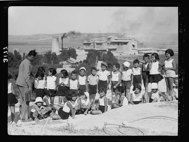 Zionist activities around Haifa. Haifa, school children on Carmel slope in background the Nesher [Cement Works]