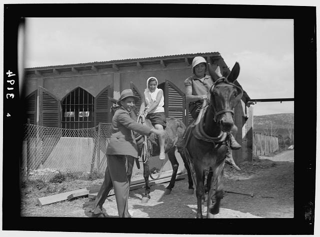 Nahalal. Girls' Agricultural Training School. The plow mules
