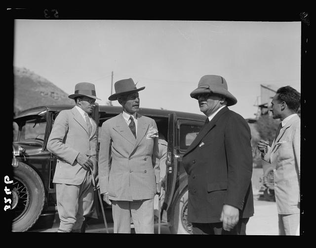 Opening ceremony of the P.E.C. [i.e., Palestine Electric Corporation] Jordan plant. H.E. (i.e., His Excellency) [i.e., His Excellency] the High Commissioner and Mr. Rutenberg. H.E. [i.e., His Excellency] Sir Arthur Wauchope arriving for ceremony