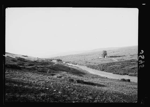 The Jordan Valley north of Lake Galilee. Jordan at Jisr Benat Yacoub. Galilee-Damascus road showing British and French frontier post
