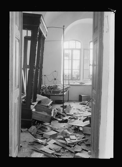 Palestine events. The 1929 riots, August 23 to 31. Jewish home plundered by Arab rioters in Hebron. Floor covered with wreckage