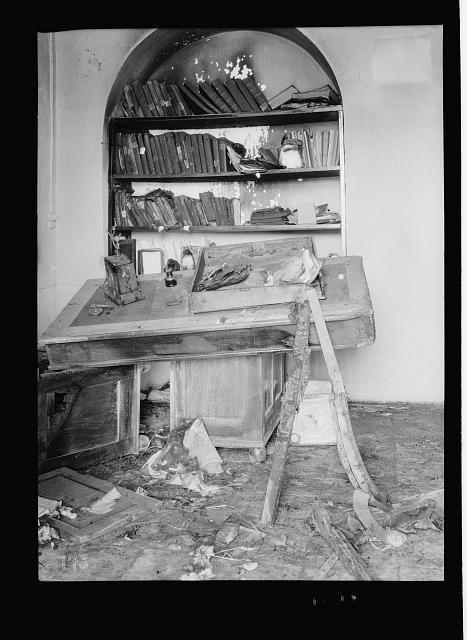 Palestine events. The 1929 riots, August 23 to 31. Moslem [i.e., Muslim] library looted and burned by Jews near Jewish quarter in Jerusalem