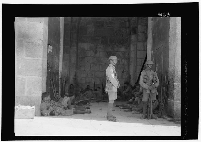 Palestine events. The 1929 riots, August 23 to 31. British troops stationed in the Damascus Gate with full kit including machine guns