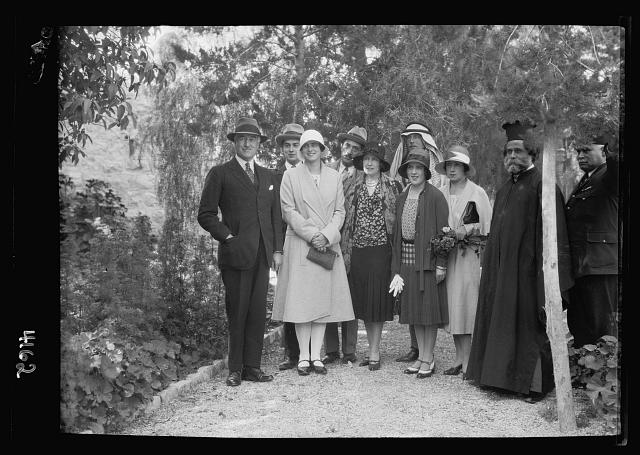 Notable visitors and approx. chronological events since 1930. H.R.H. Princess Ileona of Roumania. A garden group in the residency, April 1930 [Jerusalem]