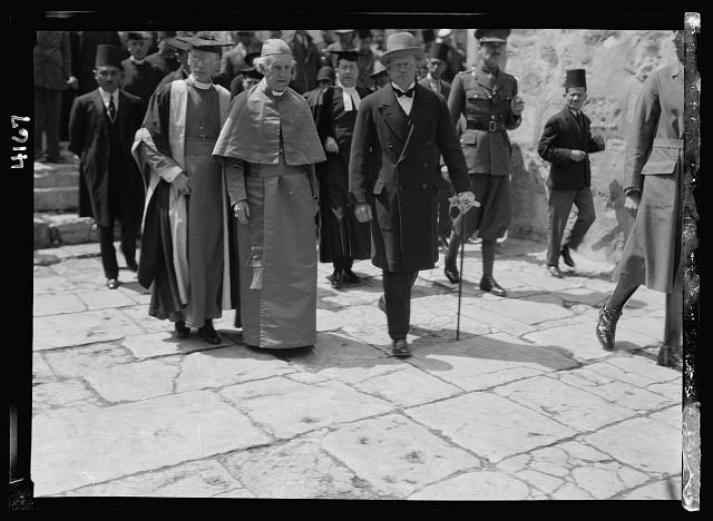 Notable visitors and approx. chronological events since 1930. The Bishop of Canterbury, Dr. Lang. Visiting Church of the Holy Sepulchre. April 16, 1931