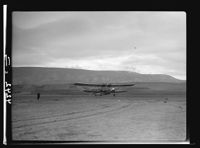 "Air views of Palestine. Aircrafts etc. of the Imperial Airways Ltd. on the Sea of Galilee and at Semakh. Aircraft ""Hanno."" A take-off. Started for Baghdad and India"