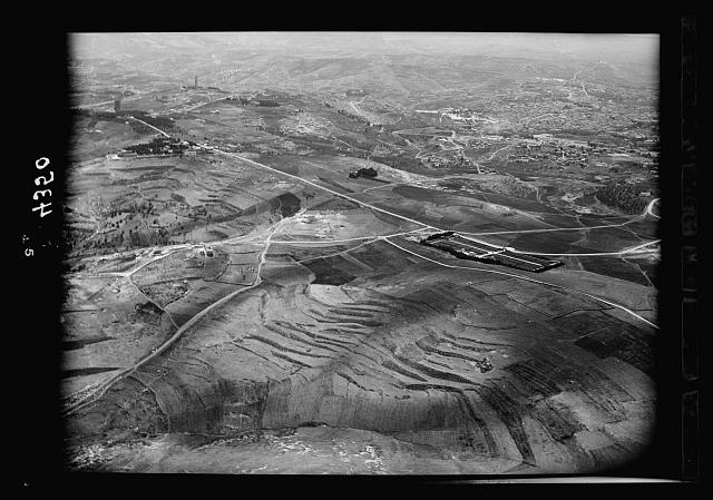 Air views of Palestine. Various on Scopus and Olivet. Jerusalem. Old City from above Scopus. War cemetery and Mt. of Olives road