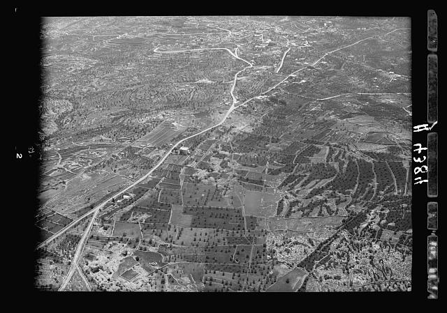 Air views of Palestine. Bethlehem and surroundings. Approaching Bethlehem from the north. Forking of the Hebron-Bethlehem road near Rachel's tomb