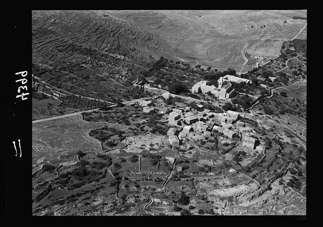 Air views of Palestine. West of Jerusalem. El-Kubeibi. Emmaus. Close view of the village and the Franciscan monastery