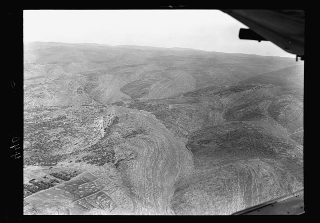 Air views of Palestine. West of Jerusalem. Valley of Ajalon looking up the valley, eastward