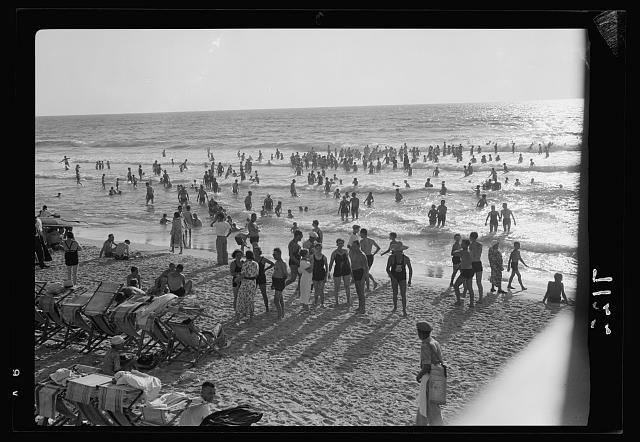 Crowded beach, Tel Aviv. Looking seaward