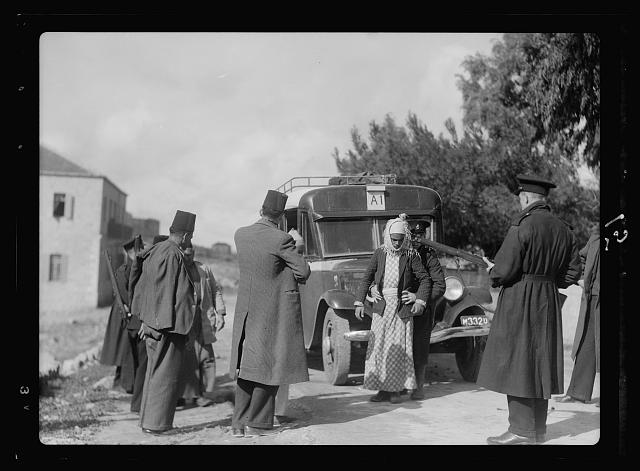 Disturbance 1938. Searching an Arab bus for arms on the Jerusalem-Jaffa Rd.