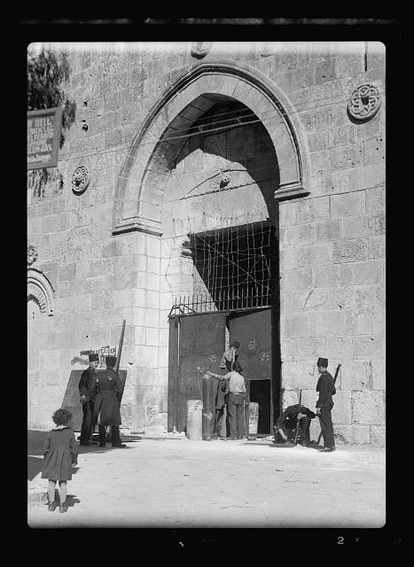 Disturbance 1938. David's Gate or Zion Gate closed by iron sheets