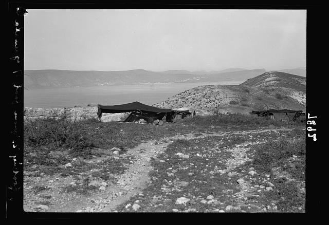 Gamala (Kal'at el-Huson east of the Sea of Galilee). Bedouin tent near the foot of Gamala, Sea of Galilee in background