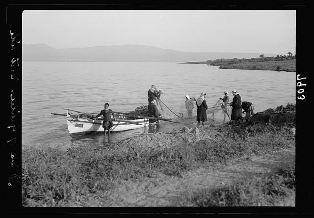 Arab fishermen on east side of the Sea of Galilee