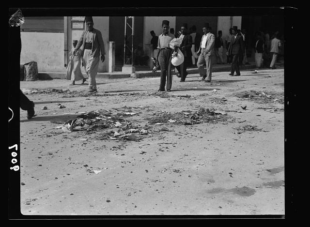 Palestine disturbances during summer 1936. Jaffa. Broken glass and debris to impede motor traffic
