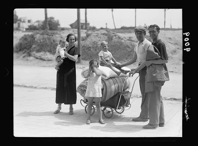 Palestine disturbances during summer 1936. Jaffa. Tel-Aviv area. Jews moving from danger zone