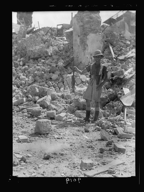 Palestine disturbances during summer 1936. Jaffa. Dynamiting. One casualty, a cat blown up with the debris