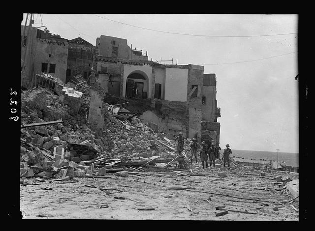 Palestine disturbances during summer 1936. Jaffa. Edge of the dynamited area. Close to the shore str[eet]