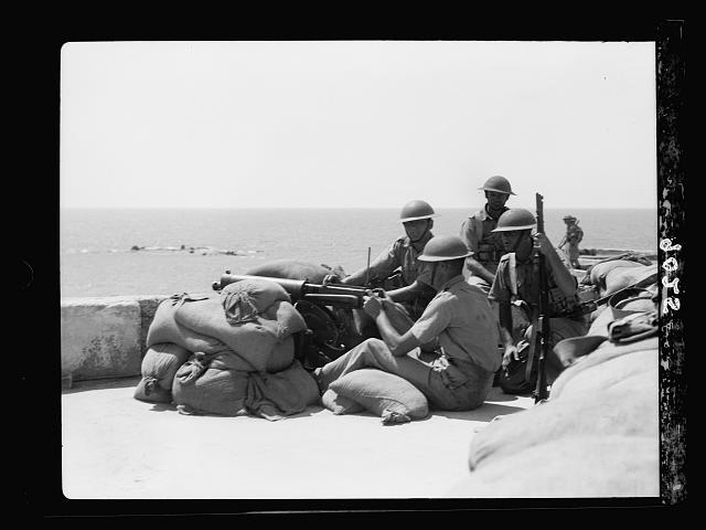 Palestine disturbances during summer 1936. Jaffa. Machine-gun nest on roof of Jaffa police-station